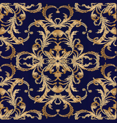 damask embroidery seamless pattern dark vector image