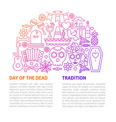 Day of the dead line template vector