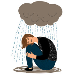 Depressed girl and crying rain vector