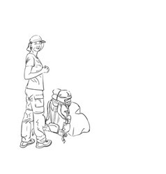 drawing girl standing with backpack down on vector image
