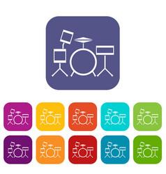 Drum kit icons set vector