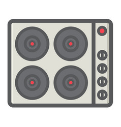 Electric hot plate colorful line icon electrical vector