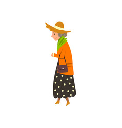 elegant senior woman walking active healthy vector image