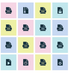 File icons set with directory temporary format vector