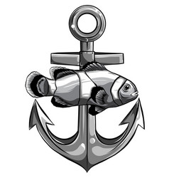 fish twisted to an anchor a boat vector image
