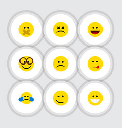 Flat icon face set of laugh sad cross-eyed face vector