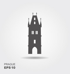 Flat landmark icon of the powder tower in prague vector