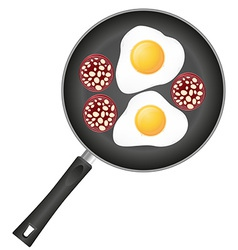fried eggs in a frying pan 04 vector image