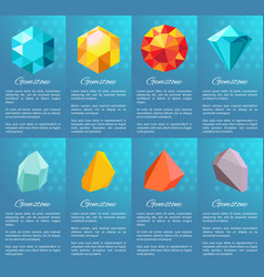 Gemstone collection posters vector