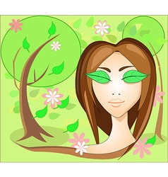 Girl with leaves eyes in the garden vector