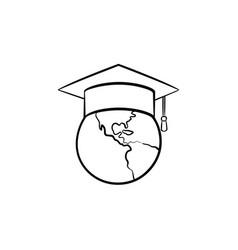 Globe in graduation cap hand drawn sketch icon vector