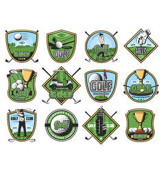 golf sport icons golfer and sporting items vector image
