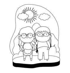 grandmother and grandfather cartoon design vector image