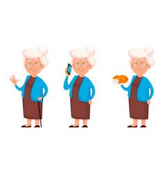 Grandmother set three poses vector
