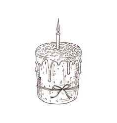 Hand drawn orthodox easter cake vector