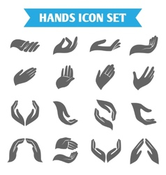 Hand hold protect icons vector