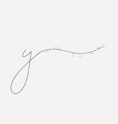 Hand lettering floral y lowercase monogram vector