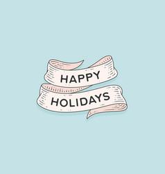 happy holidays retro greeting card vector image