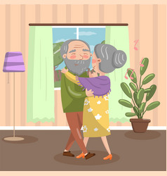 Happy senior couple dancing at home vintage cozy vector