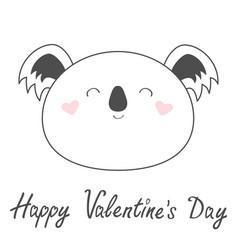 happy valentines day koala bear line icon cute vector image