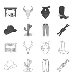 Hat cactus jeans knot on lasso rodeo set vector