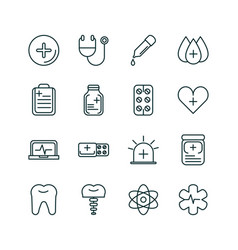 healthcare equipment medical icons set line fill vector image