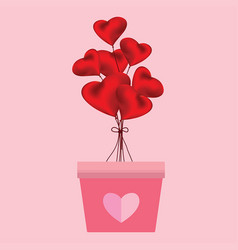 heart shaped balloons in the pink pots on pink vector image