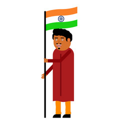 Indian man carries the flag of india vector