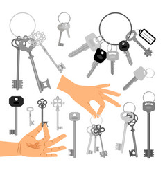 keys with hands isolated icons set vector image