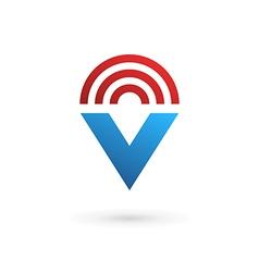 Letter V wireless logo icon design template vector