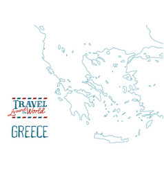 map of greece drawn by hand on white background vector image