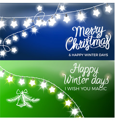 merry christmas and happy winter days postcards vector image