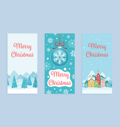 merry christmas greeting cards in cartoon vector image
