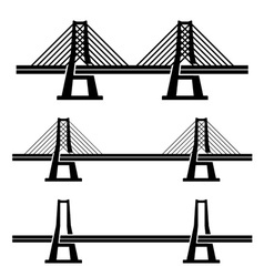 Modern cable suspension bridge black symbol vector