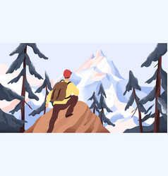 mountain hiking flat vector image