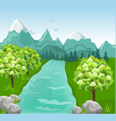 Mountains river spring green backgrounds vector