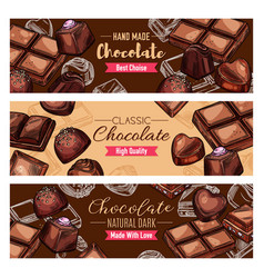 Natural chocolate food products and sweet desserts vector