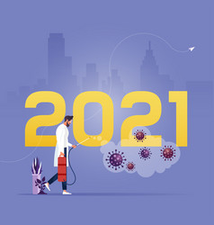 New year 2021 symbols fighting covid-19 vector
