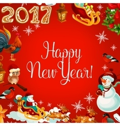 New Year poster with holiday symbols vector