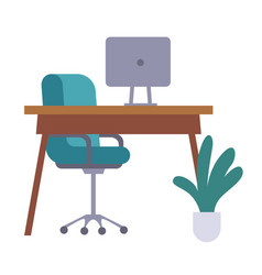 office furniture table chair monitor or vector image