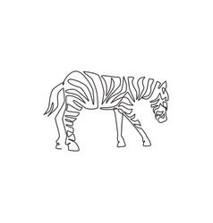 One single line drawing zebra for zoo safari vector