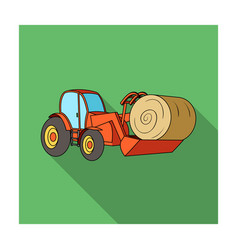 orange tractor with a ladle transporting hay bale vector image