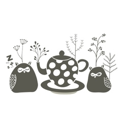 Owls ant the tea vector image vector image