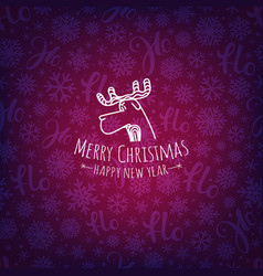 Pattern with christmas logo merry christmas and vector