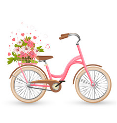 pink bicycle with cart full flowers and hearts vector image