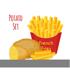 potatoes french fries cartoon flat style vector image