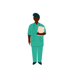 professional african american doctor character vector image