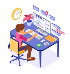 programmer developing online chat website vector image