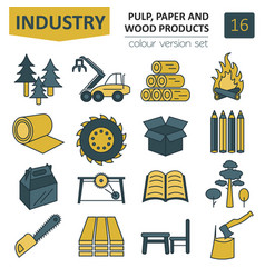 Pulp paper and wood products icon set thin line vector