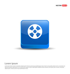 Radiation fan - 3d blue button vector